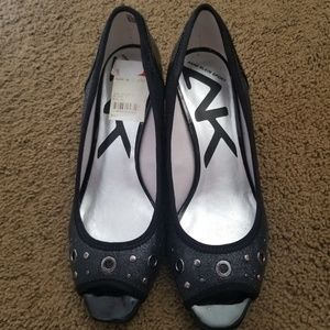 New Anne Klein Shimmer Peep Toe Sport Wedge